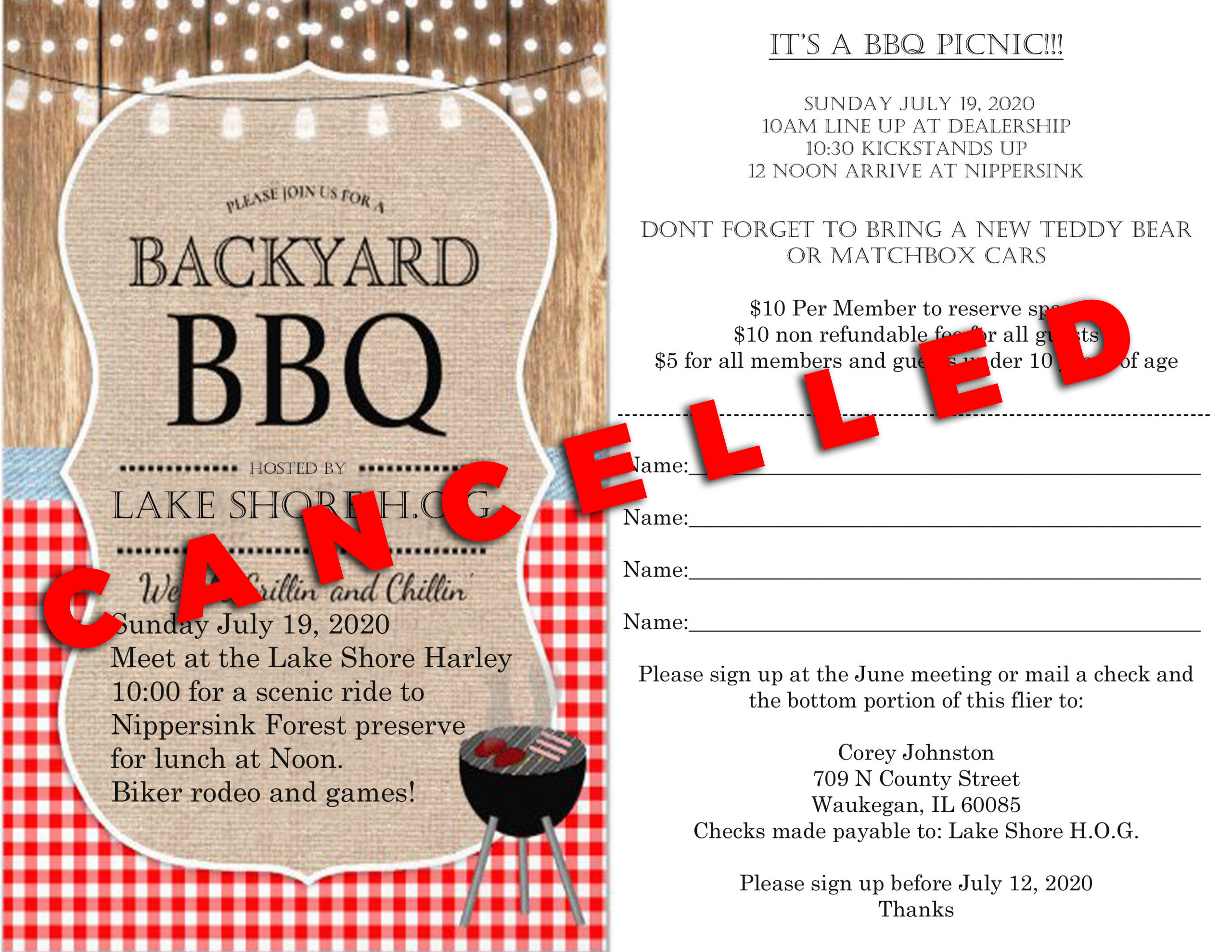 ** CANCELED DUE TO COVID-19 ** 2020 Summer Picnic.