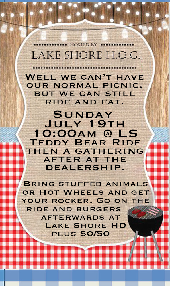 Our annual picnic maybe cancelled, but we can still ride, meet and eat…